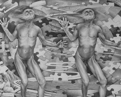 Stepping - Graphite Drawing by Richard Jacobi - The Mythologies