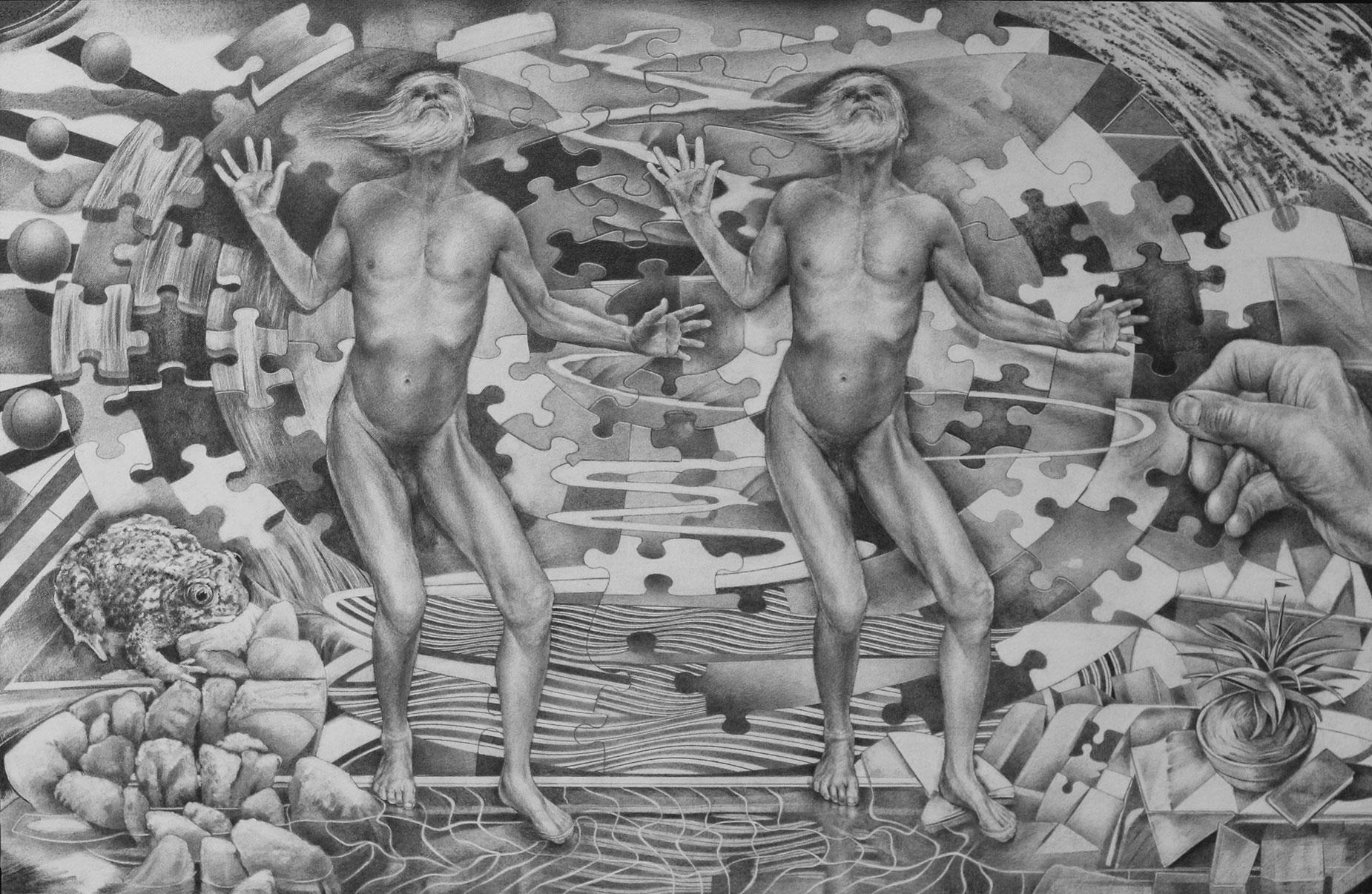 Stepping Large - Graphite Drawing by Richard Jacobi - The Mythologies